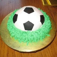 Small Soccer Graduation Cake 7up cake with lemon filling and BC icing