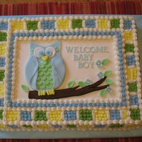 Owl Baby Shower Cake Red velvet cake, bc icing and fondant decorations. I know... been done a million times, but I think it turned out cute. :)