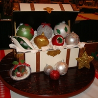 Gingerbread Ornaments  My second entry into The National Gingerbread House Competition. A trunk filled with Christmas Ornaments with a few displayed on the board...