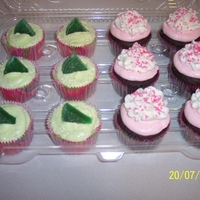 Pink And Green A friend needed 60 cupcakes for a wedding shower. The colors were pink and green. I made 30 Margarita flavored, topped with a candy lime...