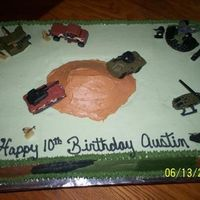 Army Cake With Camo Sides 1/2 sheet white cake, buttercream icing. I just did camo on the sides because the vehicles and men that were wanted on the cake were so...