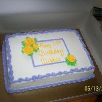 Yellow Roses, Purple Border just a simple, same day, birthday cake for an employee that works with my husband. Nothing like getting asked the night before it's...