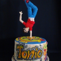 "Moves Like...tonio! A birthday cake for my nephew, Tonio, who is celebrating his 17th! An accomplished dancer, i tried to depict one of his ""moves""..."