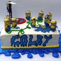 "Water Fight Minion Style! This idea came straight from the birthday child ""can you do a Minion water fight scene on a cake?"" The Minions came to be as I..."