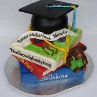 Masters In Education Using Favorite Children's Literature MMF covered and detailed each book and also the base of the cap then doweled and stacked. Cap board is a MMF covered cake board, Corduroy...