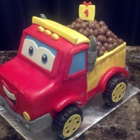 Chuck The Truck   5 six inch square cakes, whopper candies on back