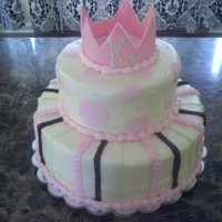 Princess Baby Shower 12 in base, 8 in top, gumpaste crown, bc icing