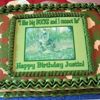 Camouflage Birthday Cake This was a last-minute rush job....and turned out better than I thought it was going to.Picture is an edible image, icing is buttercream.