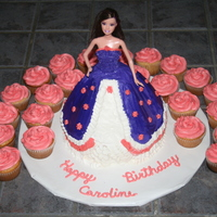 "Purple Barbie Cake My first Barbie Cake! Made with Wilton Wonder Mold and 8"" round beneath. Was surprised how easy they are to make."