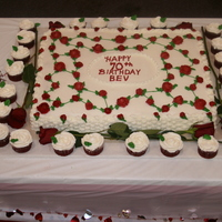 70 Roses And Basketweave Inspired by Fancicakes. Cake made for MIL 70th bday. Full sheet with 70 roses, 24 cupcakes with swirled rose icing and 6 real roses for...