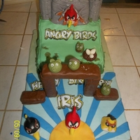 Angry Birds A playable Angry Birds cake for a fanatic. Fort and top of cake is chocolate, and bottom is vanilla. Birds and pigs are fondant/gumpaste...