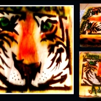 Tiger Collage My first air-brushed design. I also made the stencil.