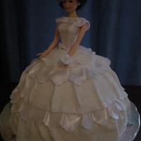 Wedding Barbie Cake Bride wanted a vintage look. Mesh for the hat, everything else fondant or gumpaste.