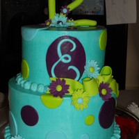 Emma The colors chosen for this cake were copied after her favorite bathing suit. This was a fun one to make. All butter cream with fondant...