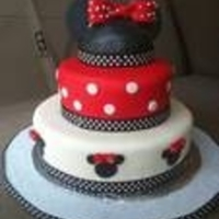 Minnie Mouse This is a three tiered cake completely covered with fondant.