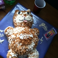 Fat Cat 9 year old's birthday obsessed with cats- especially fat. Made fish bones out of melted white chocolate