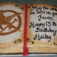 The Hunger Games My daughter saw Cristycakes version and wanted her birthday cake to look like that. It's red velet swirled with white cake dyed yellow...