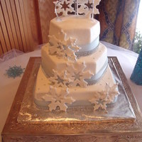 This Was Done In Buttercream With Fondant Snowflakes And Real Ribbon And Rhinestones This was done in buttercream with fondant snowflakes and real ribbon and rhinestones.