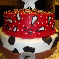 Buttercream Cake With Fondant Cow Print And Belt Buckle Paisley Done In Buttercream I Tried To Upload Earlier And Didnt See It Come Throu Buttercream cake with fondant cow print and belt buckle. Paisley done in buttercream. I tried to upload earlier and didn't see it come...