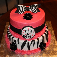 Zebra Bow For Baby Shower Buttercream cake with fondant accents and glam buttons.