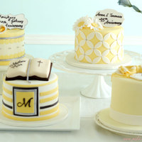 Yellow And Silver Collection Of Celebration Cakes Yellow and silver collection of celebration cakes.
