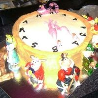 Alice In Wonderland Alice In Wonderland Pocket watch cake. Buttercake with buttercream icing and gumpaste painted figurines.