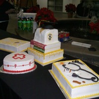 Graduation Cake I made this cake for a graduating nursing class . Chocolate and butter cake , bc icing and mmf accents. Had to deliver this cake off a...