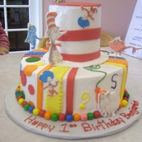 Dr. Seuss Tiered Tiered cake with Dr. Seuss theme.