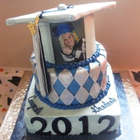 "3 Tiered Graduation 6"" round, 8"" round and 10"" square, stacked graduation cake."