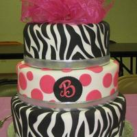 Sweet 16 Birthday This is a 3 tier devil's food & vanilla zebra cake for my niece's sweet 16th party where the theme was zebra print and pink....