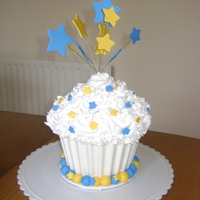 "Blue And Gold Giant Cupcake Made for Transatlantic Council Cub Scout Pack 245. Blue and Gold Banquet 2011. ""Wrapper"" made from white chocolate molded in..."