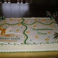 "Graduation In Green And Gold   WASC with BC, edible image for school, fondant diploma. Big thanks to ""CAkery"" for the inspiration. I LOVE your cakes! TFL"