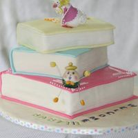 Nursery Books..baby Shower Cake gum paste mother goose and humpy dumpy sitting on MMF covered cakes