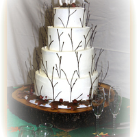 Fall Wedding Cake gum paste leafs, acorns, & stems made out of wrapped wires