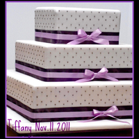 Square Swiss Dot ..lavender And Chocolate Fondant covered..RI swiss dots..satin dots.