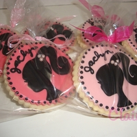 Jaclyn's Barbie Cookies! Cute little Jaclyn wanted Barbie cookies to give out for her birthday at school! Auntie Clairy will happily oblige! Here you go, Doll! =)