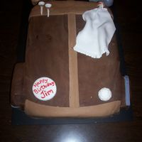 Golf Bag   just a simple golf bag..these are real popular and real easy to make..side pockets and clubs are RKT. All else fondant