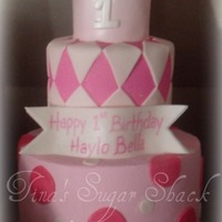 "Pink Dots And Diamonds 5"" and 7"" round cakes iced in bc with fondant accents and gumpaste crown and banner. TFL"