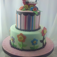 Pram   Fondant covered cake with simple decorations
