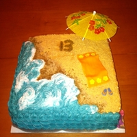 Beach 13 This cake was made for a 13 year old girl. Waves are buttercream with grahm cracker and brown sugar sand. Towel and flip flops are fondant...