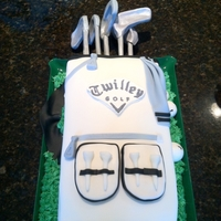 "Golf Bag Groom's Cake I made this cake for a friend as the groom's cake. Cake covered in fondant with all fondant accents. ""Twilley Golf"" is a..."