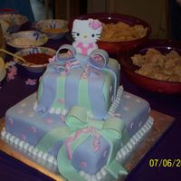 "Hello Kitty Baby Shower this is a 10"" square and a 6""square two layer cake for a Hello Kitty themed baby shower. it was to match the bedding that was..."