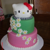 "Hello Kitty Was given a picture to of a cake they wanted, did my best. Chocolate layers, 8"", 6"", rice krispies shaped head, covered with mmf..."