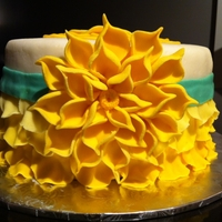Yellow Petal Cake  Lemon cake with lemon curd and blueberry cream filling, topped with lemon buttercream and decorated with fondant. First time trying the &#...