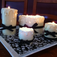 Candle Cake  White chocolate cake with orange curd filling and orange BC frosting. White chocolate on acetate for wrap and white chocolate for wax &#039...