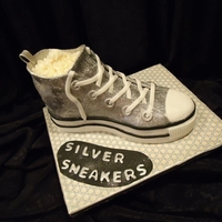 Silver Sneakers  Cake for YMCA group's luncheon. Silver Sneakers is a fitness program for active older adults.. This was a fun cake, except for all the...