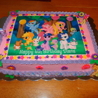 My Little Pony Cake For My Daughters Birthday White Sour Cream Almond Cake With French Vanilla Buttercream Icing And Filling Borders In My Little Pony cake for my daughter's birthday. White Sour Cream Almond cake with french vanilla buttercream icing (and filling)....