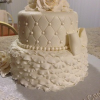All White 30Th Birthday Cake 8 and 6 inch all fondant.