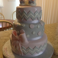Lamb Baby Shower Cake 10, 8 and 6 inch. TFL
