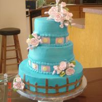 Wedding! Fench Vanilla with Strawberry filling. Fondant accents and gumpast flowers.